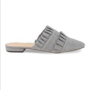 🛍 Gray Suede Slip-On Mule Double Ruffles